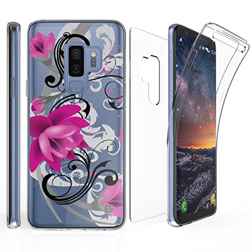 Shield Magenta Protector Case (Tri Max Galaxy S9 Plus Case with Ultra Slim 360 Degree Full Body Protection Cover with Self-Healing Flexible Gel Clear Screen Protector and Atom Cloth for Samsung Galaxy S9+ Plus - Lotus Flower)