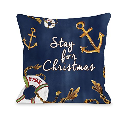 One Bella Casa Stay for Christmas Nautical Throw Pillow Cover by Timree Gold, 18