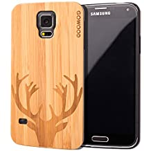 Samsung Galaxy S5 Case - Wood - Real Natural Bamboo Wooden Backplate With Unique Deer Design and Shock Absorbing Polycarbonate Protective Bumper