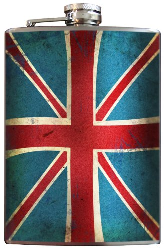 Union Jack British Flag Flask - 8oz Stainless Steel Flask - comes in a GIFT BOX - by Trixie & (Flag Stainless Steel Flask)