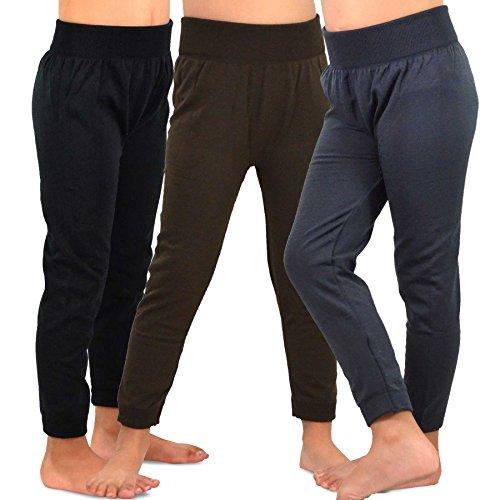 Naartjie Kids Girls Fleece Inner Brushed Leggings 3 Pack (6-8Y, Brown+Charcoal+Black)
