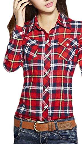 M&S&W Women's Slim Plaid Print Brushed Button Down Shirts 10