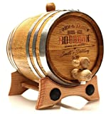Personalized Whiskey Oak Barrel – 1 Liter Polished Steel Hoops - Engraved Bourbon Template