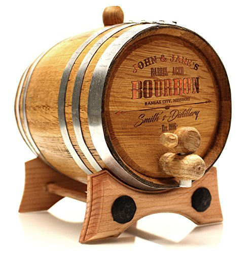 Personalized Whiskey Oak Barrel – 3 Liter Polished Steel Hoops - Engraved Bourbon Template