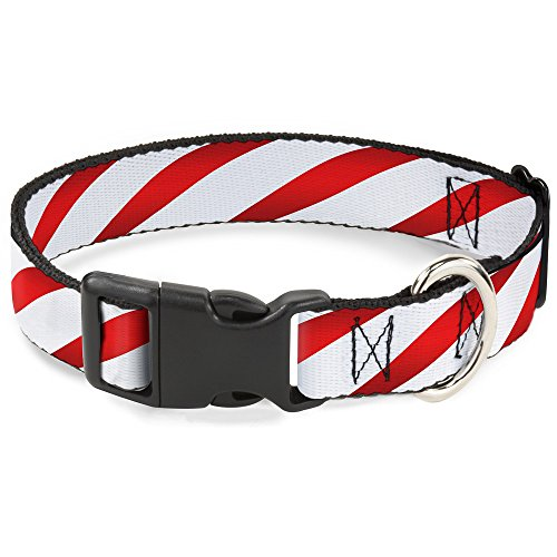 Buckle-Down PC-W30334-WM Candy Cane Plastic Clip Collar, Wide (Candy Cane Dog Collar)