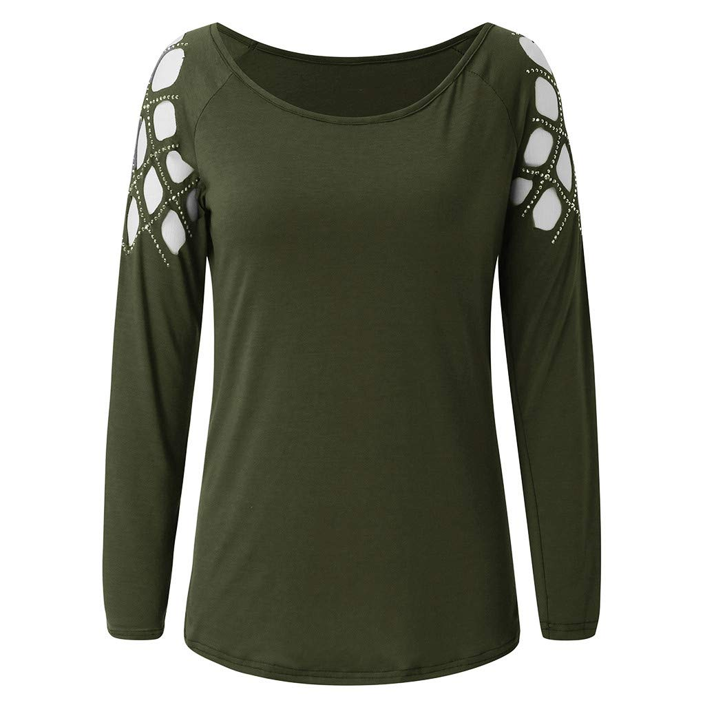 Smdoxi Womens Solid Color Round Neck Hollow Strapless Rivet hot Drilling Long-Sleeved T-Shirt Casual top