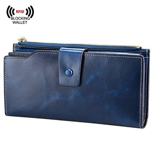 S-ZONE Mujeres de lujo Cera carpeta del cuero genuino de gran capacidad con cremallera bolsillo Azul