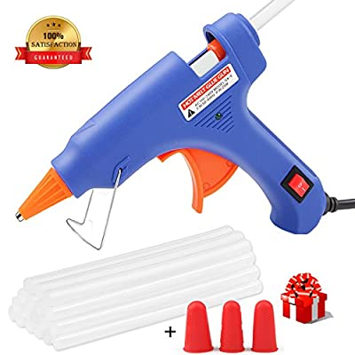 Hot Glue Gun, WEIO Rapid Heating Technology Hot Glue Gun with 25pcs Glue Sticks,High Temperature Melting Glue Gun Kit Flexible Trigger for DIY Small Craft Projects&Sealing Finger Caps(20-watt)