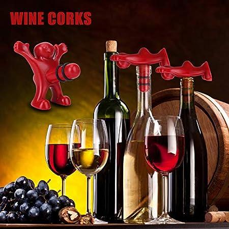 GUBOOM Hombre Rojo abridor, 3 Piezas Feliz Hombre Abridor Botella Tapón de la Botella de Vino Botella de Cerveza Opener Sacacorchos Vino para Regalos de Cumpleaños, Regalos para Hombres, Fiestas