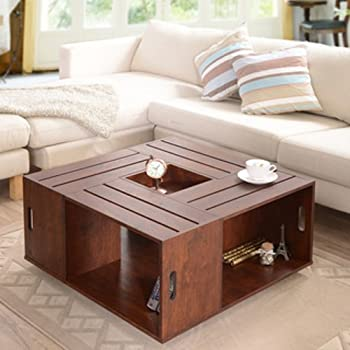 Square Crate Walnut Coffee Table With Open Shelf Storage And Flip Box Center Tray Insert