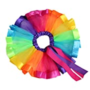 Baby Newborn Girls' Rainbow Soft Triple Layered Tulle Tutu Skirts Elastic Waistband with Bowknot for 0-1 Years Old