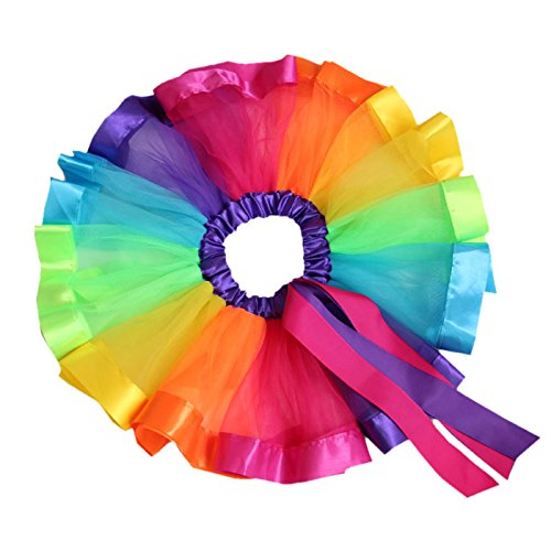 Happy Cherry Little Girl's Colorful Tulle Costume Skirt Rainbow Skirts Dancing Dress Princess Wedding Party Layers Short Skirts for 4-8 Years (Rainbow Bright Costume Kids)