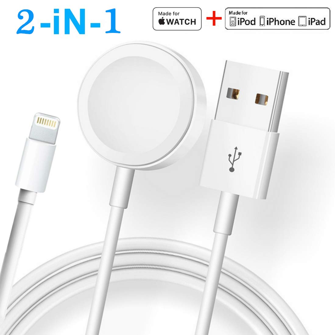 ATETION 2 in 1 Phone Charger Cable & Charging Station Compatible for Apple Watch Holder for Apple iWatch Series 4/3/2/1/iPhone X Xs MAX/8 Plus/8