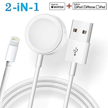 ATETION Compatible con el Cargador iWatch de Apple Watch, Cable Cargador inalámbrico 2 en 1 Compatible con para Apple Watch Series 4/3/2/1 y iPhone ...