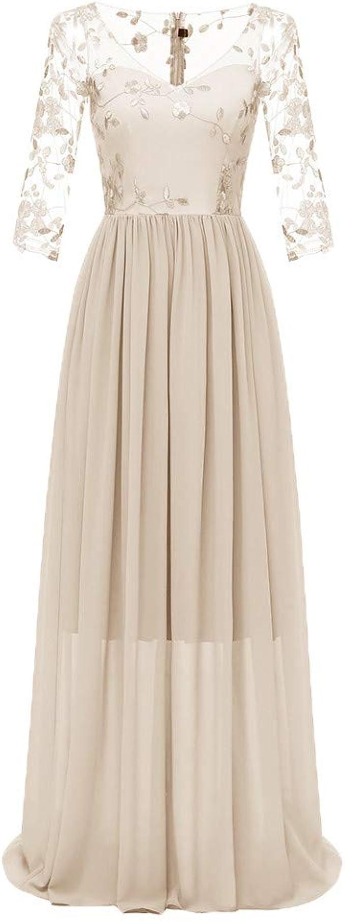 Goosuny Damen Hochzeitskleid Lange Spitze Chiffon Kleid