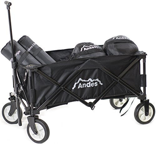 Andes Black Collapsible Portable Folding Camping Wagon Cart Trolley...