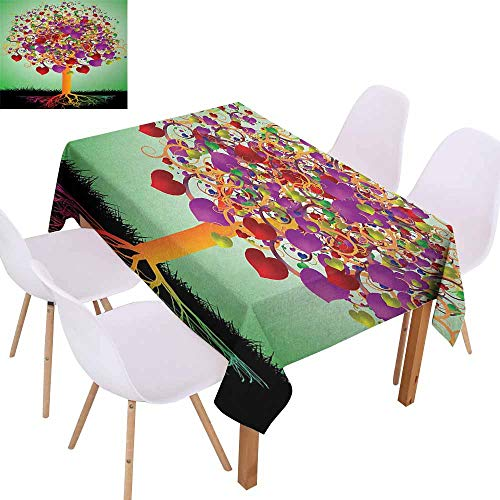 - UHOO2018 Tree of Life,Restaurant Table Cloth,Colorful Magic Love Valentines Tree Blossomed Heart Round Leaves and Roots,Machine Washable,Multicolor,50