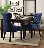Chic Home Diana Velvet Modern Contemporary Button Tufted Armless with Silver Nailhead Trim Tapered Solid Birch Legs Dining Chair, Blue(Set Of 2) For Sale
