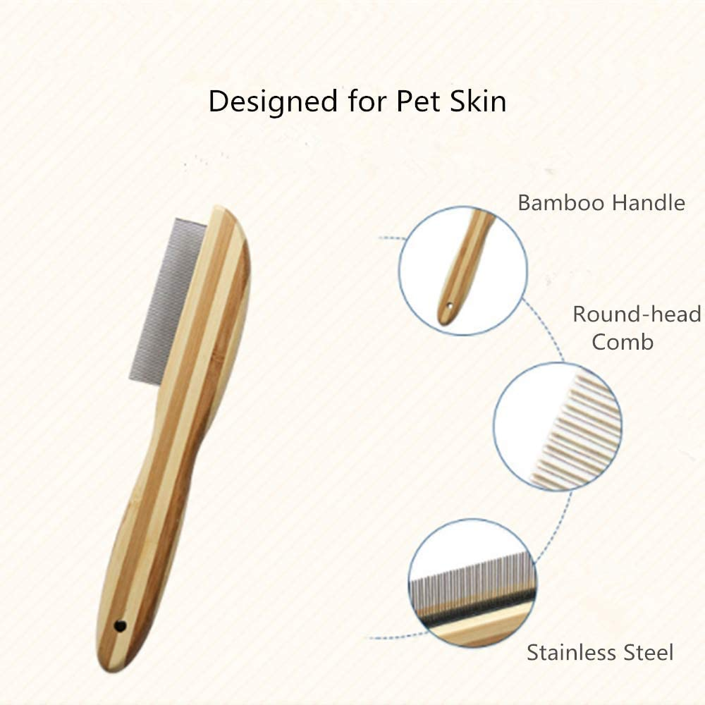 ITODA Pet Grooming Flea Comb Anti-Static Stainless Steel Lice Combs Dog Cat Rabbits Flea Removal Grooming Comb with Bamboo Handle Ticks Biting Pests Ectoparasites Nits Effective against Fleas
