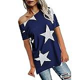 ZHANGVIP Women Off Shoulder Star Printed Short