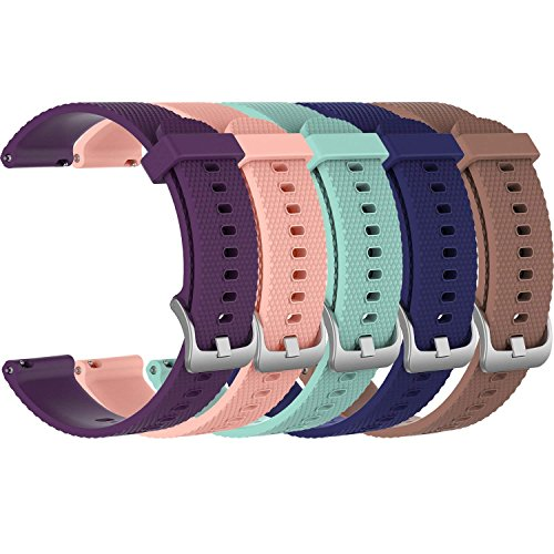 ECSEM 5X Small 20mm Replacement Silicone Bands for Garmin Forerunner 645 & Forerunner 645 Music GPS Smartwatch, 5B