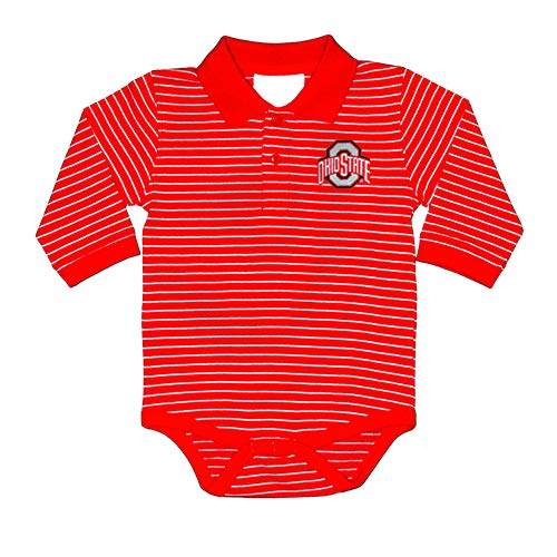 Cotton Ohio Onesie (Two Feet Ahead NCAA Ohio State Buckeyes Boys Infant Boys Long sleeve Stripe Golf Creeperinfant Boys Long sleeve Stripe Polo Creeper, Red, 6 Months)
