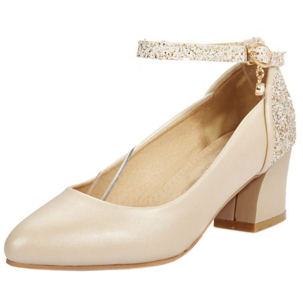 Zanpa Damen Pumps Ladies Glitter34 EU (sole length 22 CM)|Beige