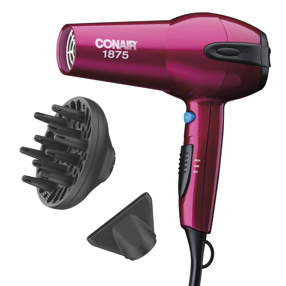 Conair 1875 Watt Ionic Ceramic Hair Dryer, Cranberry Pink - Amazon Exclusive by Conair