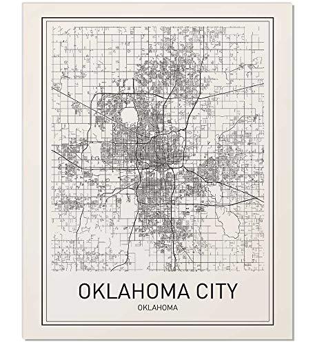 Oklahoma City, Map of Oklahoma City, Oklahoma City Poster, City Map Posters, Modern Map Art, Oklahoma City Print, Oklahoma Map, Black and White, Map Wall Art, Scandinavian Poster, 8x10 ()