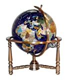 Unique Art 19-Inch Tall Blue Lapis Ocean Table Top Gemstone World Globe with Copper Stand w USA Divided State Stones and Divided Canadian Provincial Stones