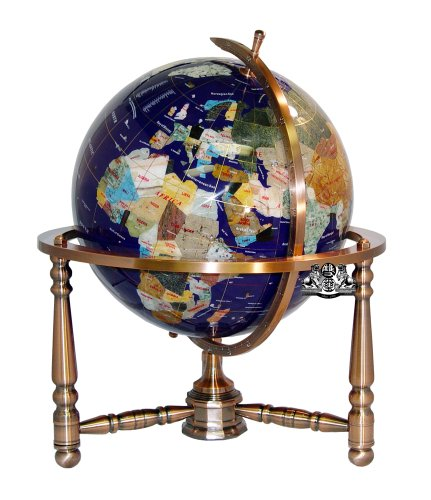Mm 330 Globe Gemstone (Unique Art 19-Inch Tall Blue Lapis Ocean Table Top Gemstone World Globe with Copper Stand w USA Divided State Stones and Divided Canadian Provincial Stones)