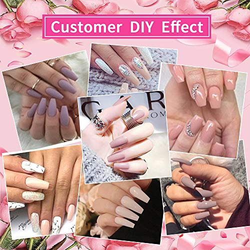 Clear Acrylic Nail Tips - Coffin Clear French Nail Tips Fake Nails No Crease 500pcs Artificial Ballerina Shaped Half Cover False Nail with Case for Nail Salons and DIY Nail Art 10 Sizes