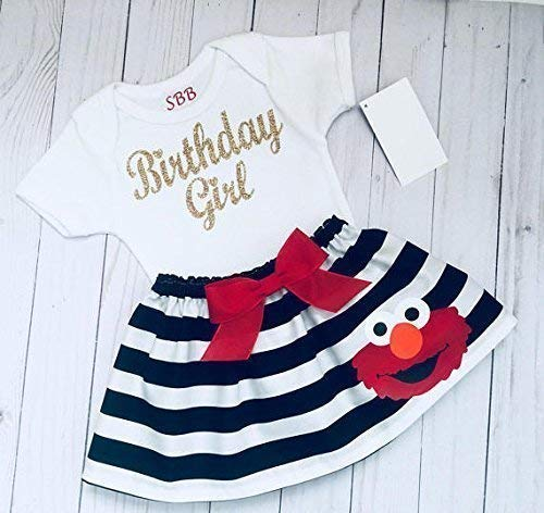 (Elmo Birthday outfit, Elmo black and white striped skirt and Sparkle gold Birthday girl)