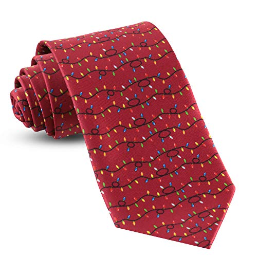 Mens Christmas Ties For Men Necktie Holiday Necktie Lights Red -