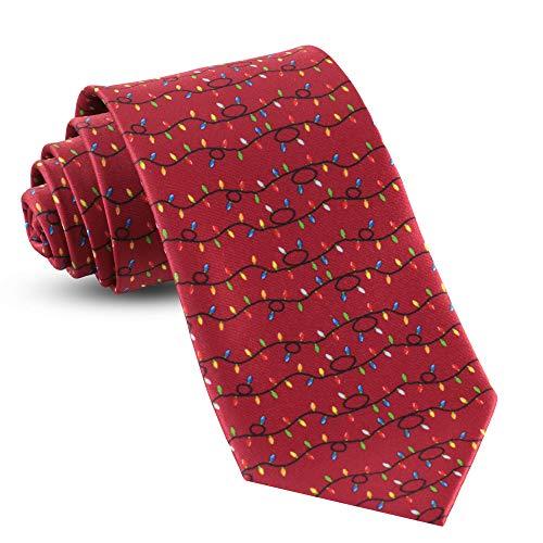 Mens Christmas Ties For Men Necktie Holiday Necktie Lights Red Tie