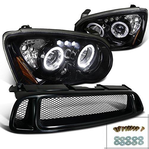 Subaru Impreza WRX Glossy Black Projector Headlights+Mesh Hood Grille