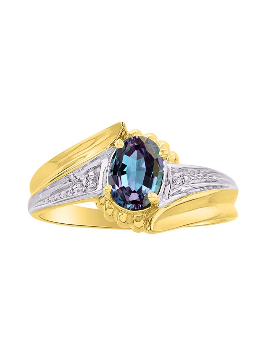 June Birthstone RYLOS Simply Elegant Beautiful simulated Alexandrite//Mystic Topaz /& Diamond Ring