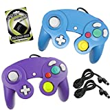 Cheap Koalud NGC Wired Gamepad Controllers with 2 Extension Cables 1.8m and 128mb Memory Card for Nintendo Wii GameCube Game Cube GC Console (Blue and Purple)