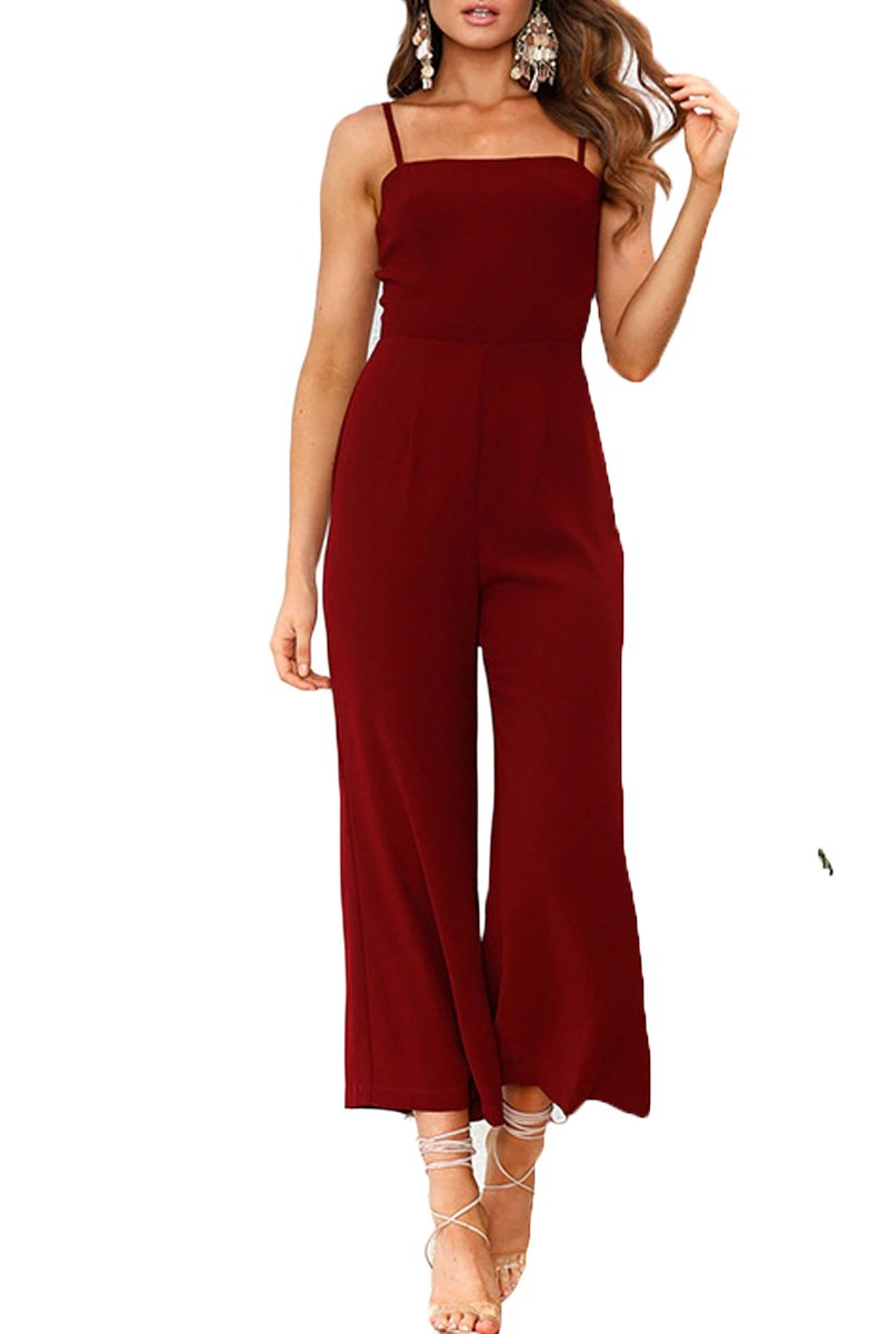 Haloon Womens Strappy Tube Top High Waisted Wide Leg Cropped Jumpsuit Rompers