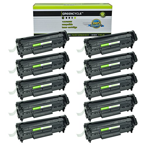 GREENCYCLE 10 Pack Q2612A High Yield Black Toner Cartridge Compatible for HP 12A Laserjet 3052 Laserjet 3055 Laser Printer 10k High Yield Toner