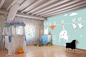 Liebre y lavandería vinilo pared Mural semi-glossy Premium 350x 260cm | PIXERS
