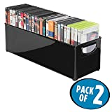 mDesign Set of 2 DVD Storage Box - Stackable DVD and CD Holder Box with Handles - Ideal as CD Storage or for Organising Game and Blu Ray Discs - Black