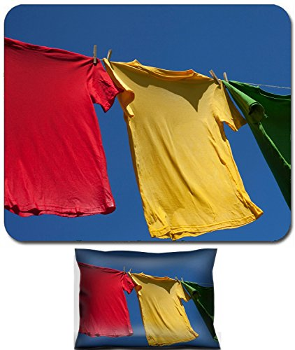 Rest and Small Mousepad Set, 2pc Wrist Support design Wet shirts on clothesline against blue sky IMAGE: 25613579 ()