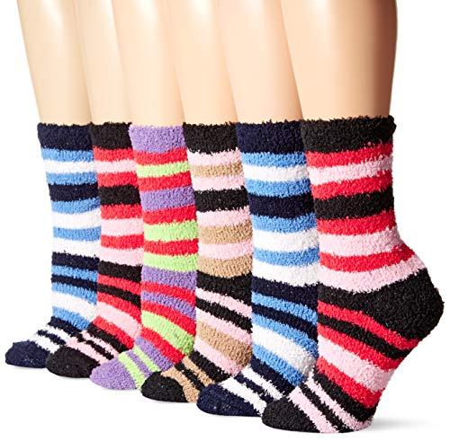 - Bright Fuzzy Socks Ultra Soft Womens 6-pack Striped By DEBRA WEITZNER, Multicolor Stripes, 9 - 11