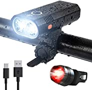 Super Bright 2 LED Bike Lights Set, USB Rechargeable Front and Back Rear Bicycle Light Combo, IPX5 Waterproof