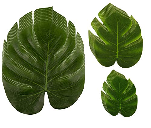 Tropical Palm Leaf - 60-Pack Artificial Monstera Leaves, Summer Luau Party Decorations, Fake Safari Plant Leaves for Baby Shower, Wedding, Bridal Shower, Tropical Themed Events, Green, 3 -