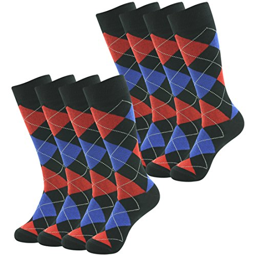 Casual Dress Gift Socks April Fools' Day,Suttos Men's Adult Crazy Fun Argyle Plaids Nordic Fashion Patterned Cotton Mid Calf Long Tube Groomsmen Wedding Dress Socks,8 (Nordic Mens Socks)