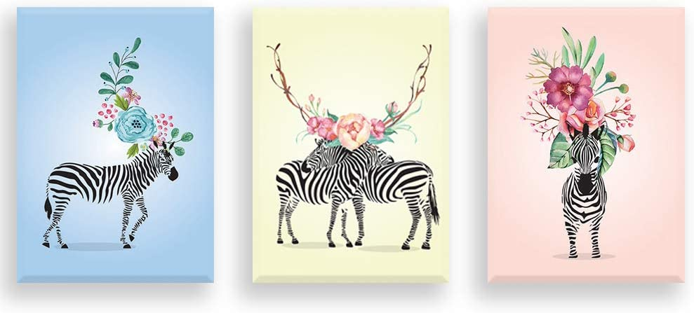 Loboo Idea Cute Zebra Canvas Wall Art Painting, Ready to Hang. Super Cute Water Color Unicorn Prints for Nursery Or Girl's Bedroom Decor. Cute Zebra Wall Decor Painting Canvas Artwork (Size: 30x40cm)