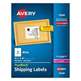 Shipping Label Printer - Avery Shipping Labels for Laser Printers with TrueBlock Technology, 3.333 x 4 Inches, White, Box of 600 (5164)