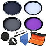 K&F Concept 52mm UV CPL FLD ND4 Lens Filter Kit UV Protector Circular Polarizing ND Neutral Density Filter For Nikon D5300 D5200 D5100 D3300 D3200 D3100 DSLR Cameras with 18-55mm Lens + Microfiber Lens Cleaning Cloth + Petal Lens Hood + Center Pinch Lens Cap + Cap Keeper + Filter Bag Pouch